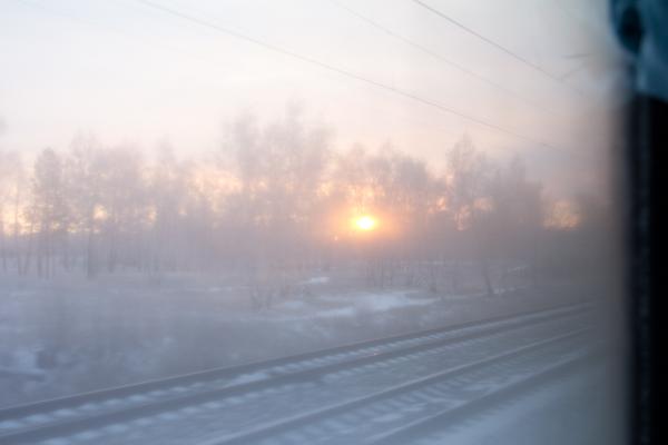 Amanecer desde el tren de camino a Irkutsk.