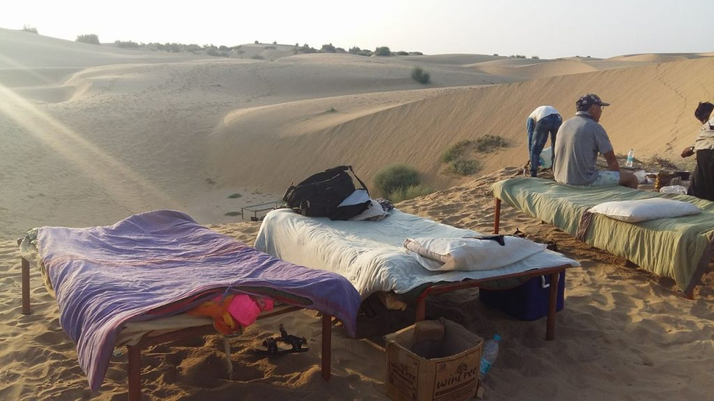 Nuestras camitas en las dunas.